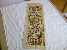Linen Wall Hanging Vintage Wert Religious by VintagePlusCrafts, $10.00