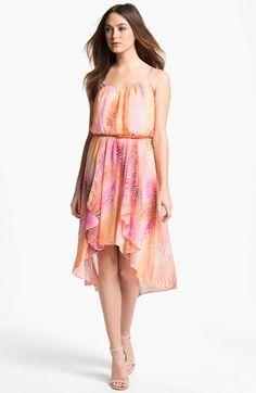 Maggy London Print High/Low Chiffon Dress