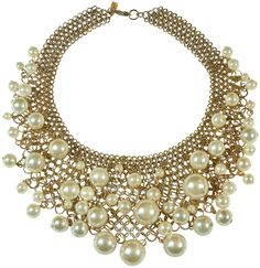 KENNETH JAY LANE-PEARL DROP- BIB NECKLACE-14KT GOLD PLATE-16-22 INCHES #KennethJayLane #PEARLBIBNECK