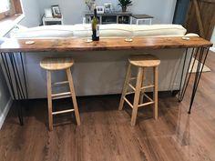 Reclaimed Wood Bar Table with Hairpin Legs Custom. Patio Bar Set, Pub Table Sets, Bar Tables, Rustic White, Rustic Modern, Sofa Bar, Live Edge Bar, Reclaimed Wood Bars, Wood Bar Table
