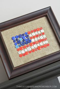 Create an adorable Burlap + Button Flag craft for the of July or patriotic decor for your home. Patriotic Crafts, July Crafts, Summer Crafts, Patriotic Party, Fourth Of July Decor, 4th Of July Decorations, Vintage Decorations, July 4th, Button Crafts For Kids