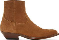 Saint Laurent Brown Suede Santiag Boots