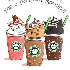Kawaii Starbucks Catpuccino Art in Japan ~. I Love Cats, Cute Cats, Funny Cats, Crazy Cat Lady, Crazy Cats, Kawaii Cat, Kawaii Drawings, Drawings Of Cats, Cute Drawings Of Animals