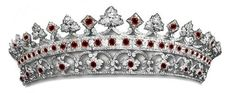 Strawberry Leaf Ruby Diamond Tiara, United Kingdom (mid 19th. c: designed by Prince Albert; rubies, diamonds). Later, altered to an all-diamond tiara. www.royal-magazin.de