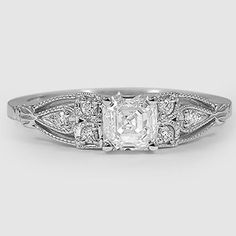 18K White Gold Rosabel Diamond Ring with asscher centre