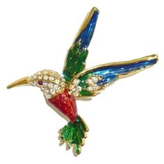 $7.95 Jewelry Pin   Colorful Enamel U0026 Crystal Hummingbird Pin