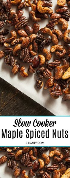 Slow Cooker Maple Spiced Nuts. Sweet with maple and tad bit spicy with cayenne. The vanilla brings the flavors together. They've become a quick favorite and a popular gift for friends. Slow Cooker Maple Spiced Nuts | 31Daily.com #slowcooker #spicednuts #giftnuts #foodgifts #maple #christmas #thanksgiving #newyear #partyfood #appetizers #31Daily Nut Recipes, Slow Cooker Recipes, Crockpot Recipes, Snack Recipes, Holiday Snacks, Holiday Recipes, Christmas Recipes, Christmas Ideas, Merry Christmas