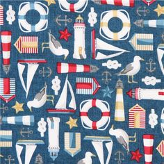 marine blue nautical sailor fabric by Andover USA 1 Marine Rope, Navy Marine, Nautical Pattern, Nautical Bedroom, Textiles, Archie, Sailboat, Cute Designs, Lighthouse