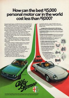 1977 ALFA ROMEO Original Car Ad Gt Sedan & 2000 by phorgotten