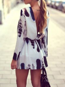 Kleid Langarm mit Druck - weiß