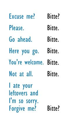 """The various meanings of """"Bitte"""". 