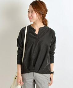 SHIPS for women casual(シップスフォーウィメンカジュアル)のフロントタックドルマンシャツ(シャツ/ブラウス)|ブラック