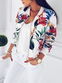 Cheap Basic Jackets, Buy Directly from China Suppliers:Women Coat Fashion Ladies Retro Floral Zipper Up Bomber Jacket Casual Coat Autumn Outwear Women Clothes Floral Bomber Jacket, Lace Jacket, Print Jacket, Suede Jacket, Jacket Dress, Coats For Women, Jackets For Women, Clothes For Women, Cheap Clothes