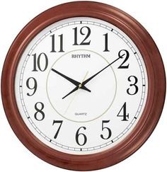 """<p> $179.  Our largest Non-Ticking Wall Clock! The Admiral large wall clock by Rhythm Clocks offers a solid wood frame in a Cherry finish with glass crystal cover. This clock is an impressive 22"""" in diameter and is equipped with Rhythm's ultra quiet smooth, accurate quartz movement. Large, easy to read dial with black Arabic numerals on a white ba..."""