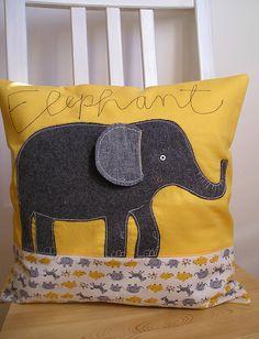 could do applique elephant instead Elephant Cushion, Elephant Pillow, Grey Elephant, Handmade Pillows, Decorative Pillows, Cushion Embroidery, Fabric Birds, Childrens Room Decor, Sewing Pillows