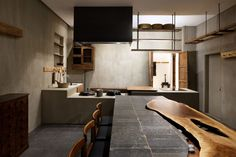 Communal Table, Wooden Dining Tables, Buddhist Practices, Black Tiles, Japan Design, Floor Cushions, Interior Design, Interior Ideas, Cafe Interior