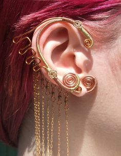Matched PAIR of Elegant Mermaid Earwraps--Wire Wrapped Ear Cuffs No  Piercings Necessary 34beb8a9be6