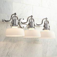 Possini Euro Fella 26 Wide Polished Nickel Bath Light is a quality Bathroom Lighting for your home decor ideas. Led Bathroom Lights, Bathroom Sconces, Bathroom Light Fixtures, Bathroom Lighting, Bathroom Ideas, White Bathroom, Bathrooms, Hall Bathroom, Bathroom Renovations