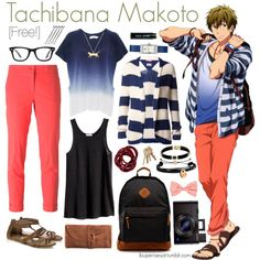 Casual cosplay of Makoto Tachibana (from Free! Iwatobi Swim Club or Eternal Summer anime series)-- character inspired outfit