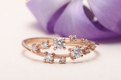Rose Gold Twist Wedding Band | Cluster Ring | Promise Ring | Womens Anniversary Ring | Dainty Ring | Stacking Ring | 14K Rose Gold Ring by One2ThreeJewelry on Etsy Engagement Ring For Her, Alternative Engagement Rings, Diamond Engagement Rings, Womens Wedding Bands, Diamond Wedding Bands, Or Rose, Rose Gold, Chevron Ring, Diamond Cluster Ring