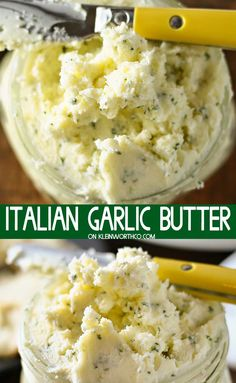 Italian Garlic Butter is loaded with parsley, garlic and parmesan cheese. perfec… Italian Garlic Butter is loaded with parsley, garlic and parmesan cheese. perfect for adding to french bread, dinner rolls or on your favorite filet. Garlic Butter Spread, Homemade Garlic Butter, Homemade Sauce, Garlic Butter For Bread, Garlic Butter Sauce, Butter Cheese, Steak Butter, Garlic Paste, Flavored Butter