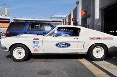 1968 Ford Drag Team - Mustang 428 Cobra Jet in Wimbledon White Mustang Cobra Jet, Ford Mustang 1967, Mustang Fastback, Vintage Mustang, Drag Cars, Vintage Racing, Wimbledon, Drag Racing, Garage Signs