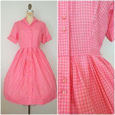 Vintage 1950s Dress / Pink Checks Shirtwaist / Raspberry Gingham / Medium