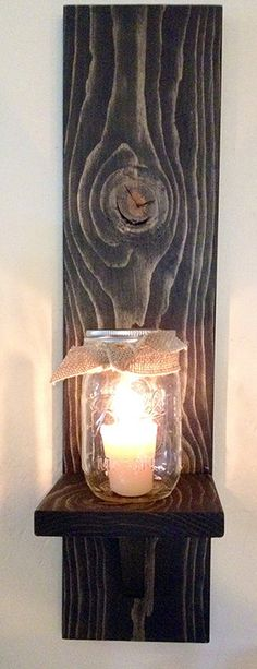 Rustic Wall Sconce Rustic Candle Holder Mason Jar by KrohnDesigns