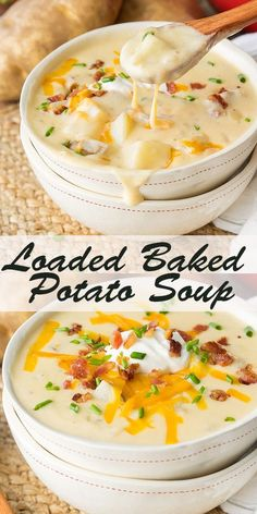 Loaded Baked Potato Soup Recipe - How to Make Slow Cooker Crock Pot Style Creamy Potato Soup Crock Pot Recipes, Vegetarian Crockpot Recipes, Best Soup Recipes, Cooker Recipes, Potato Soup Recipes, Creamy Soup Recipes, Soup Recipes With Bacon, Vegetarian Recipes, Vegetarian Food