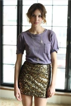 Who would have thought to pair a glitter skirt with a tee?
