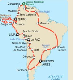 South America Itinerary Map, LP.