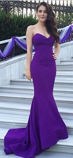 Classic Purple Tight Strapless Mermaid Homecoming Dress Long - MyBodiArt.com