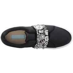 Blue by Betsey Johnson Eva (Black Satin) Women's Slip on  Shoes ($89) ❤ liked on Polyvore featuring shoes, satin shoes, slip on shoes, black platform shoes, black shoes and elastic shoes