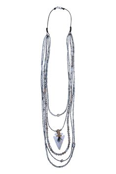 Arrowhead with Moonstone and Hematite Cascade Necklace — S. Carter Designs