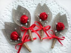 Items similar to Set of RED Flower burlap Boutonniere (buttonhole) -Rustic Wedding-grooms boutonniere on Etsy Boutonnieres, Burlap Boutonniere, Jute Flowers, Paper Flowers Diy, Valentines Bricolage, Valentines Diy, Lace Garland, Wedding Favor Bags, Burlap Crafts