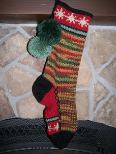 Old Fashioned Hand Knit Christmas Stocking Green Camouflage ...