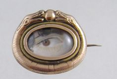 Antique 1800's Miniature Lovers Eye in 10 KT Gold Snake Framed Brooch | eBay