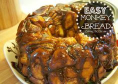 Easy Monkey Bread http://leavingtherut.com/easy-monkey-bread/ This Easy Monkey Bread goes from fridge to oven in 10 minutes! Perfect for last minute, and heats up perfectly for leftovers! 4 Ingredients make this the easiest, quickest monkey bread out there! www.LeavingTheRut.com