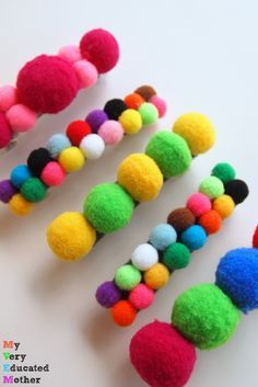 These quick and easy Pom Pom Barrettes make great gift ideas for girls of all ages. These quick and easy Pom Pom Barrettes make great gift ideas for girls of all ages. Pom Pom Crafts, Felt Crafts, Diy And Crafts, Arts And Crafts, Hobbies For Girls, Diy For Girls, Gifts For Girls, Kids Hair Bows, Little Presents