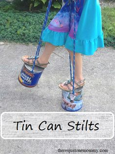 to Make Tin Can Stilts Looking for a simple outdoor play idea the kids will love? Recycle a couple tin cans into fun stilts!Looking for a simple outdoor play idea the kids will love? Recycle a couple tin cans into fun stilts! Easy Games For Kids, Outdoor Activities For Kids, Diy For Kids, Cool Kids, Summer Activities, Family Activities, Diy Outdoor Toys, Outdoor Fun, Outdoor Games