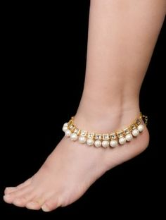 Kundan Pearl Anklets - Set of 2