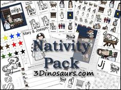 Free Christmas Printables: Nativity Pack (60-Pages) from 3 Dinosaurs