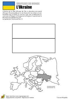 Dessin à colorier du drapeau de l'Ukraine et de la carte du monde