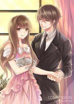 Anime 705x1000 con la imagen de altura sukiblog sonrisa cabello castaño cabello negro pelo corto pelo largo ojos amarillos la luz del sol pareja de la mano vestido de la muchacha masculina arco traje de corbata animales ventana gato