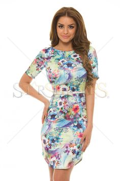 StarShinerS Gripping Blue Dress Flower Dresses, Blue Dresses, Neon Accessories, Baptism Dress, Mint Dress, Daily Dress, Dress Cuts, Colourful Outfits, Office Outfits
