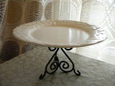 "Vintage Pedestal Cake Stand- upcycled- ""Antique Grape"" dinner plate by Metlox on a scrolled wrought iron base- Large"