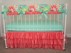Bumperless Teal, Coral, And Mint Designer Baby Girl Crib / Cot Cot Bedding With…