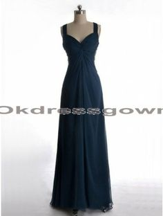 navy blue spaghetti long backless chiffon prom dress, prom dress under 150