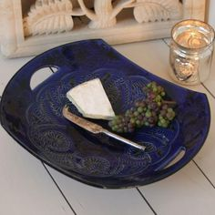 Handmade Moroccan pottery, platter, looker and bell