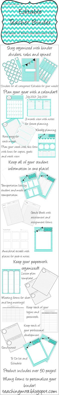 Editable Teacher Binder in Chevron and Teal~ Fashionably organized! Teacher Binder Organization, Organization And Management, Classroom Organisation, Teacher Tools, Teacher Hacks, Teacher Resources, Classroom Management, Organizing, Future Classroom
